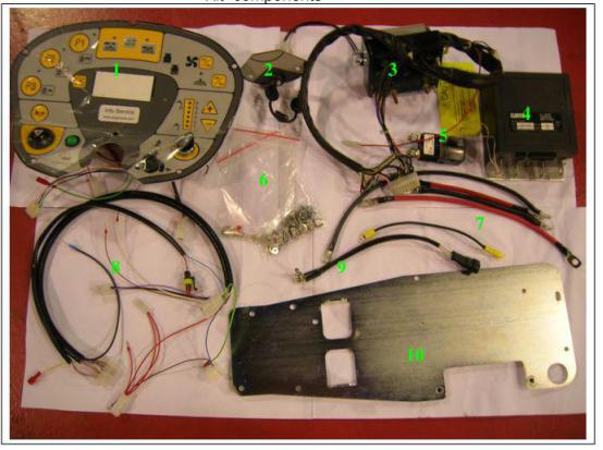 电路板系统换新步骤  CT160 电路板系统修理包 KTRI01970 所包含的配件如下(对应上图序号) 1、新的控制面板 2、新的钥匙开关 3、新的刷盘控制盒 4、新的行走控制盒 5、新的继电器(控制行走控制盒) 6、安装期间会用到的螺丝和端子 7、电源连接线 8、控制盒用的新线束 9、脚踏开关电位器 10、新的支板 操作步骤如下: 一、打开机器前盖,方便查看电路系统。断电,将所有拆下的线进行编号标注,拆下旧式行走控制盒,旧式行走控制盒将不再使用。具体拆盒步骤 如下 1、断开连接旧式行走控制盒的正极线和